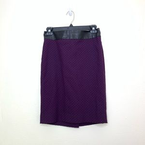 Purple Pencil Skirt w/ Faux Leather | The Limited